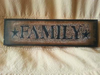 primitive black star crackle family farmhouse decor sign shelf sitter wall art