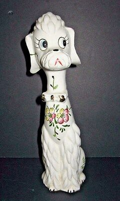 Vtg. Poodle Dog Anthropomorphic BowTie Floral Ceramic Hand Painted Figurine