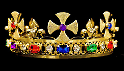 #K26 Pageant King's Crown Gold-Plated Metal & Faux Jewels Adjustable Size