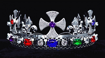 #K27 Pageant King's Crown Silver-Plated Metal & Faux Jewels Adjustable Size