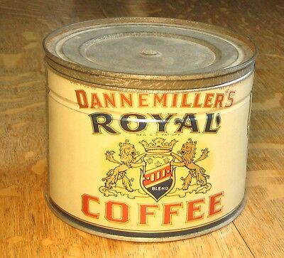 Dannemiller Royal Coffee 1 Lb. Tin w/Lid, Excellent