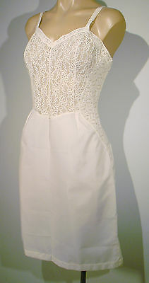Vintage White All Floral Lace Top Slip Dress NightGown Negligee Lingerie Sz 16 L