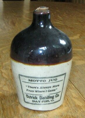 "Detrick Whiskey Motto Jug w/ Rare Paper Label on Back: ""There's Always More..."""