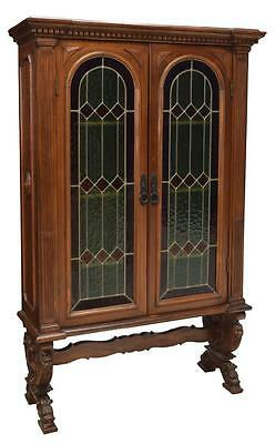 CONTINETNAL BOOKCASE W/ STAINED LEADED GLASS DOORS AND GUN CABINET, 19th c 1800s