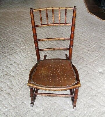 19th Century Southern Bamboo Design Turned Frame Sewing/Rocking Chair