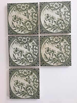 Antique Victorian Fireplace Tiles - Green, Flowers