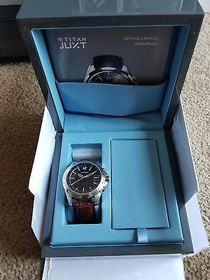 Titan Juxt Stainless Steel Case Brown Leather Classic Buckle Watch