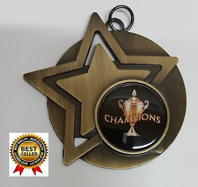 1 x 50mm CHAMPIONS SOCCER MEDAL,TROPHY,WITH Free ribbons