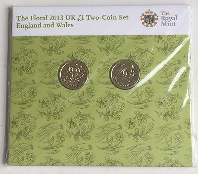 2013 £1 Coin FLORAL SET England & Wales Royal Mint Uncirculated SEALED One Pound