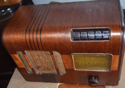 Early 1939 GE radio DECO push button multi-wood pattern radio working!