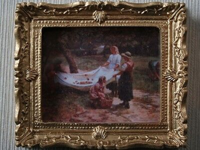 Dolls House Miniature 1.12 Scale   The Apple Pickers   Picture In Gold Frame