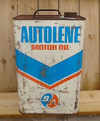 RARE 1967's VINTAGE B/A AUTOLENE MOTOR OIL (2 IMPERIAL GALLON) TIN CAN SIGN