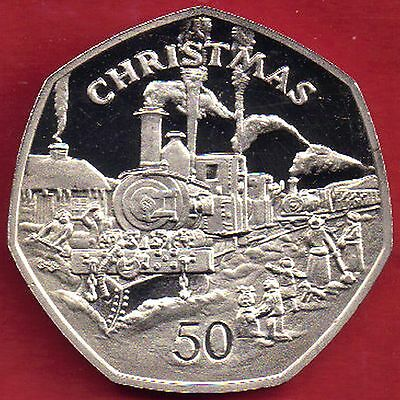 IOM Isle of Man Manx 1984 50p Christmas Sutherlands Train Sealed Wallet DM BB