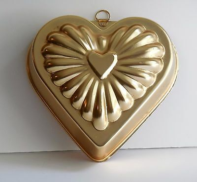 Charming Gold Colored Aluminum Heart Jello Salad Mold 3½ Cups to Use or Display