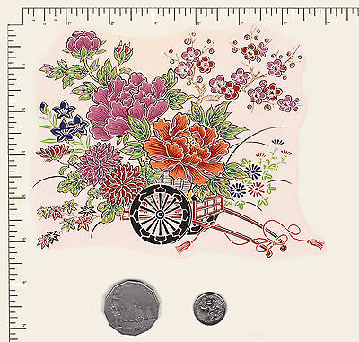 "1 x Ceramic decal.Oriental Flower cart Floral Approx. 6 1/2"" x  5 1/2"". PD842"