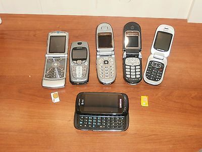 SMALL LOT OF 6 OLD CELL PHONES FOR SCRAP GOLD RECOVERY Or Parts 3 power on