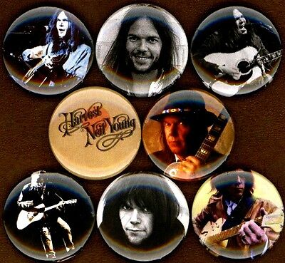 """Neil Young 8 NEW 1"""" buttons pins badges harvest moon crazyhorse"""