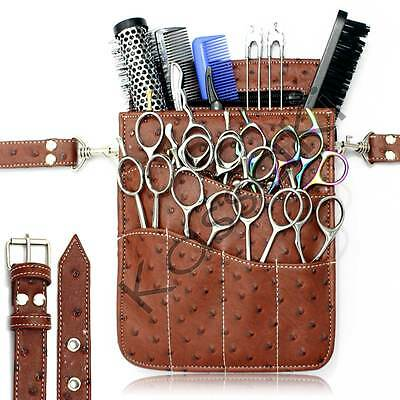 Hairdressing Scissor Pouch Tool Belt Shear Holster Bag Kassaki Brown Ostrich
