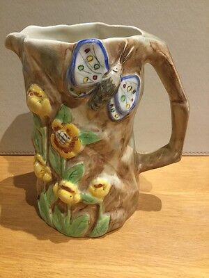 Redford Art Deco 1930s Hand Painted English Butterfly Ware Porcelain Jug