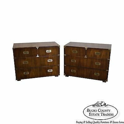 Henredon Pair of Walnut Campaign Style Chests