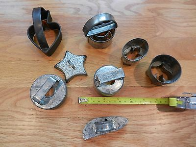 8 Vintage Antique tin cookie cutters some soldered some slotted