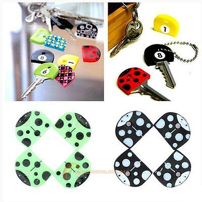 4pcs Creative Cute  Soft Key Top Head Cover Chain Cap Keyring Phone Strap