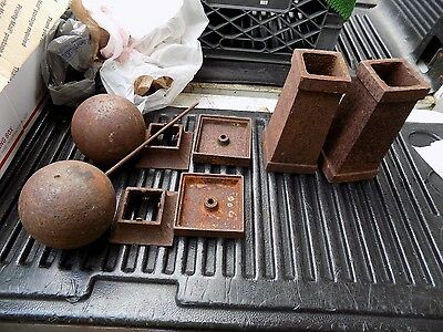 Antique Cast Iron Architectural Salvage Posts & Balls Fence Gate Topper Finials?