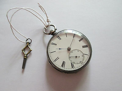 1870 Lever Fusee Sterling Silver English Keywind Pocket Watch