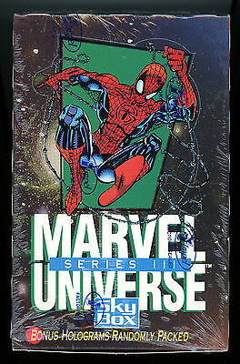 MARVEL UNIVERSE Series III, 3 - '92 SkyBox / Impel Factory Sealed BOX - 36 Packs