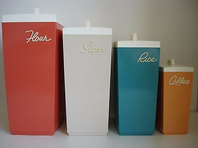 VINTAGE 1970s KITCHEN STORAGE CONTAINER CANISTER SET RETRO 70s COFFEE SUGAR RICE