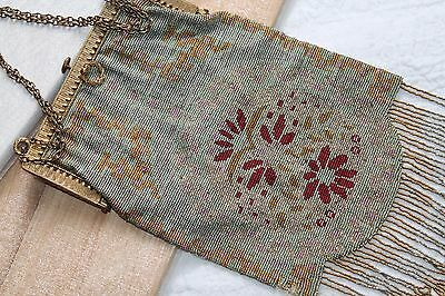 Large ART DECO Floral Embroidered Micro Bead Brass Frame FLAPPER Purse