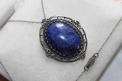 EDWARDIAN Antique STERLING Silver LAPIS LAZULI Cabochon Pin Pendant Necklace