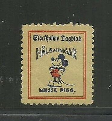 1930's Disney Mickey Mouse Musse Pigg Key Poster Stamp for Collection