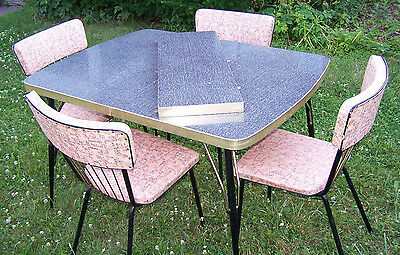VINTAGE FORMICA TABLE Gray/Black/White w/Leaf & 4 VINTAGE CHAIRS - 1960's - VGUC