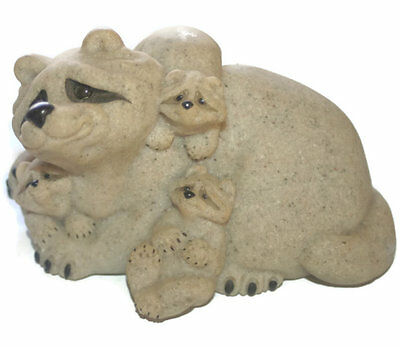 Vintage Quarry Critters Raccoon Family
