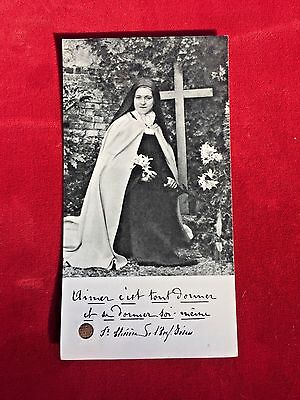 ANTIQUE Photo Relic Reliquary Saint Therese of Lisieux Little Flower Child Jesus