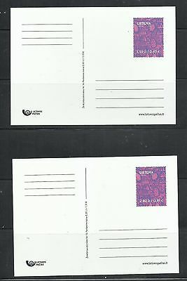Lithuania Pre-stamped Holiday Postal Card - Set of 2 - MINT