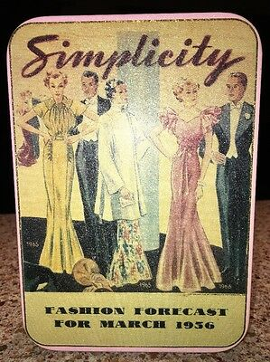 "Collector Tin Simplicity Pattern Fashion 7 1/2"" X 5 1/2"" x 2 1/2"" Pink"