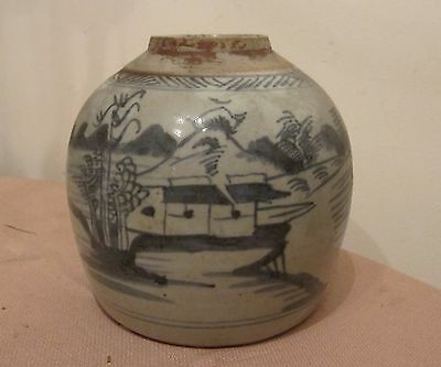 antique handmade cobalt painted Chinese ceramic pottery ginger jar pot vase