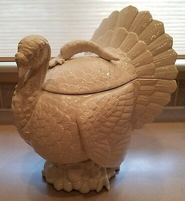 Uber Rare Fitz & Floyd 1989 Large White Thanksgiving Turkey Tureen Lid & Ladle