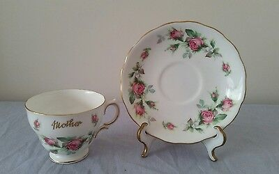 """Royal Vale """"Mother"""" Cup & Saucer - Pink Roses"""