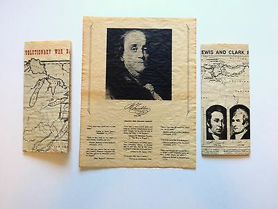 US Historical Document Lot-Revolutionary War/ Lewis & Clark Map, Franklin Quotes