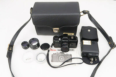 Pentax Auto 110 Mini SLR Camera Set with Case Flash - Vintage - Made in Japan