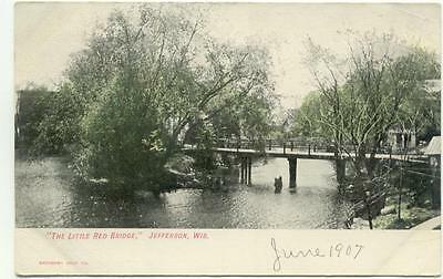 The Little Red Bridge JEFFERSON Wisconsin WI Antique 1907 Post Card