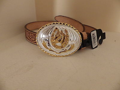 Kids leather belt country western farmer rodeo with horsehead buckle BNWT sz 26