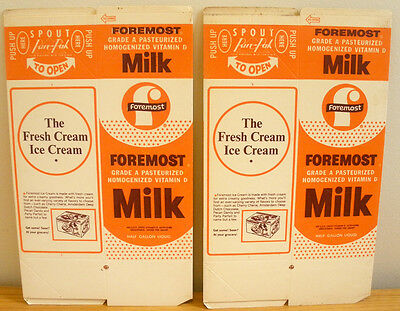 2 VINTAGE 1960's 1970's FOREMOST DAIRY VITAMIN D MILK HALF GALLON CARTONS NOS