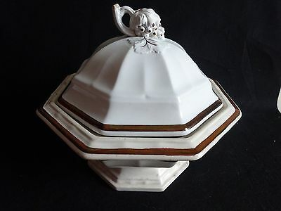 Antique Ironstone Grape & Leaves Large Octagonal Shaped Tureen Luster