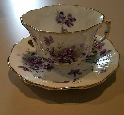 Beautiful Victorian Violets cup and saucer set bone china by Hammersley nice
