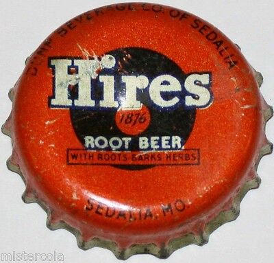 Vintage soda pop bottle cap HIRES ROOT BEER Dunn Co Sedalia Missouri cork lined