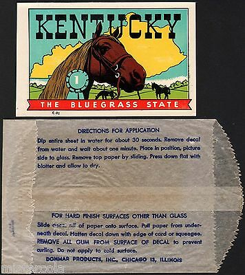 Vintage travel decal KENTUCKY The Bluegrass State horses with original envelope